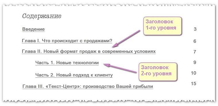 Заголовки первого и второго уровней