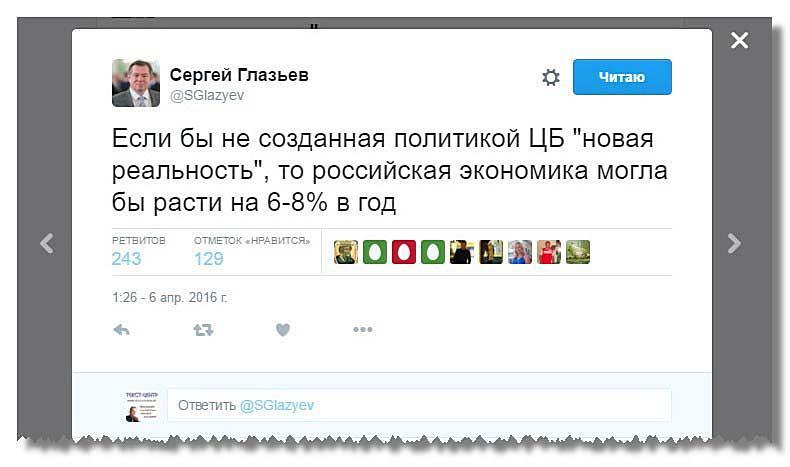Твит Глазьева о возможностях российской экономики