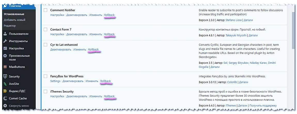 После активации WP RollBack он добавляется в каждый плагин